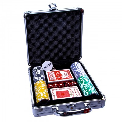 Набор для покера без номинала в металлическом кейсе