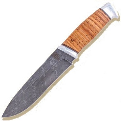 Нож ЗЗоСС Златоуст, Н1, сталь черный дамаск (У10А-7ХНМ), рукоять: дюраль, орех