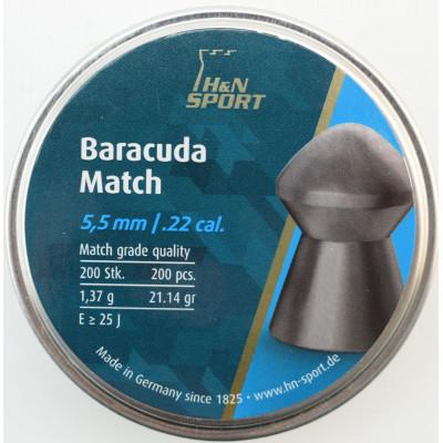 Пули для пневматики cal. 5.5mm, H&N Sport Baracuda Match 1,37гр