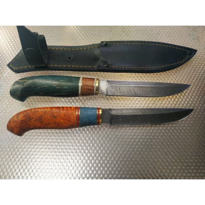 """Нож """"Финка"""" без Гард. сталь - дамаск . рукоять - Стабилизированная карельская берёза.г.Ворсма (рреал)"""
