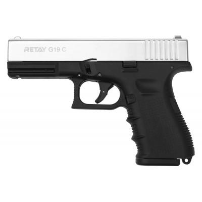Охолощенный СХП пистолет Retay G19C (Glock) 9mm P.A.K никель